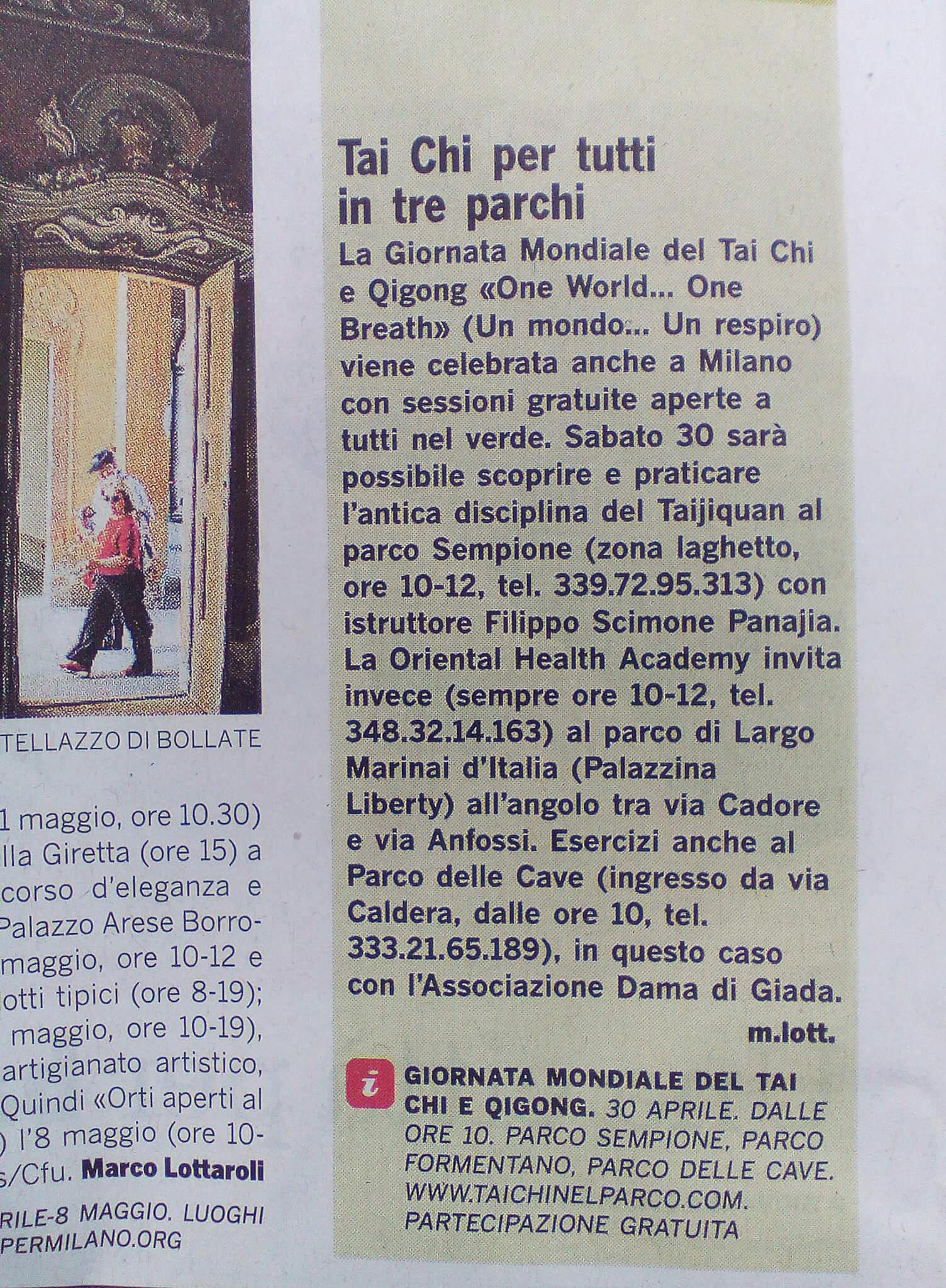 Sul Corriere della Sera Parlano del Tai Chi nel Parco istruttore Filippo Scimone Panajia
