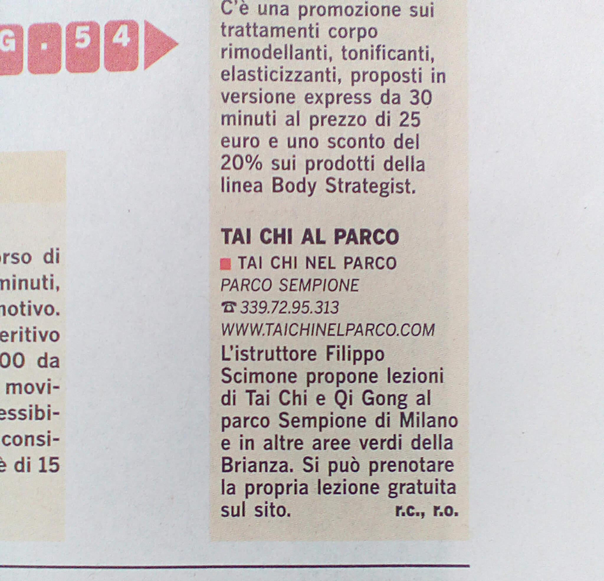 Sul ViviMilano del Corriere della Sera Parlano del Tai Chi nel Parco istruttore Filippo Scimone Panajia